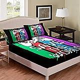 Gamepad - Juego de cama colorido para niña, doble controlador, juego de cama, geometría elegante, negro, simple, sábanas de microfibra, sábana bajera ajustable, 2 piezas, ropa de cama