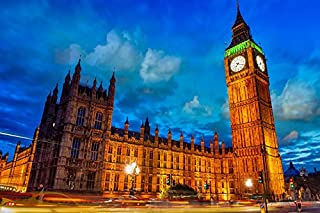Tomorrow sunny D088 Palace of Westminster Big Ben London city evening Poster Art Wall Pictures for Living Room Canvas Print