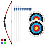iMay 45' Recurve Bow and Arrows Set Outdoor Archery Beginner Gift Longbow Kit with 9 Arrows 2 Target Face Paper 18 Lb for Teens (Red)