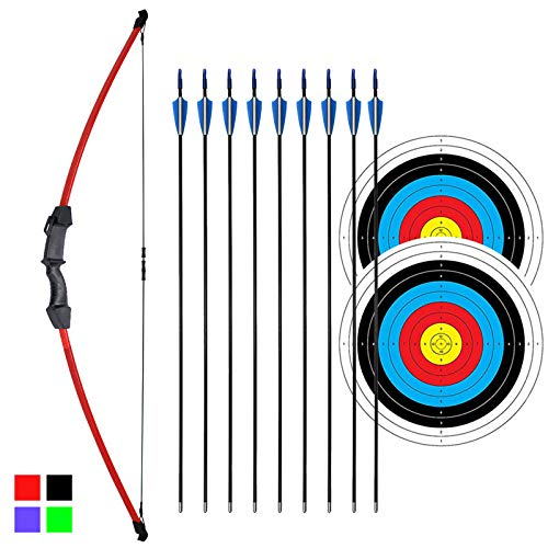 iMay 45  Recurve Bow and Arrows Set Outdoor Archery Beginner Gift Longbow Kit with 9 Arrows 2 Target Face Paper 18 Lb for Teens (Red)
