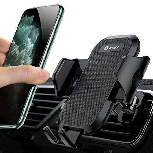 Andobil Car Phone Mount Easy Clamp, Ultimate Hands-Free Air Vent Cell Phone Holder for Car, One Touch Cradle Compatible with iPhone 11 Pro Max 8 Plus X XR XS Samsung Galaxy S10 S9 S8 Note 10 9 More