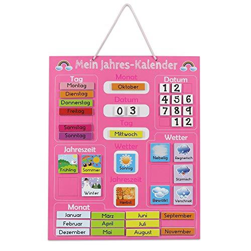 Navaris Kalender Tafel für Kinder - Lerntafel Jahreszeiten Uhr - Magnet Spiel Lernuhr - Kinderkalender Jahreskalender - magnetisch - rosa - deutsch