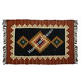Handicraft Bazarr Alfombra marroquí de yute de lana para pasillo, alfombra de yute tejida a mano, alfombra de área grande, alfombra vintage Kilim, tapete de yoga para decoración de habitación de niños