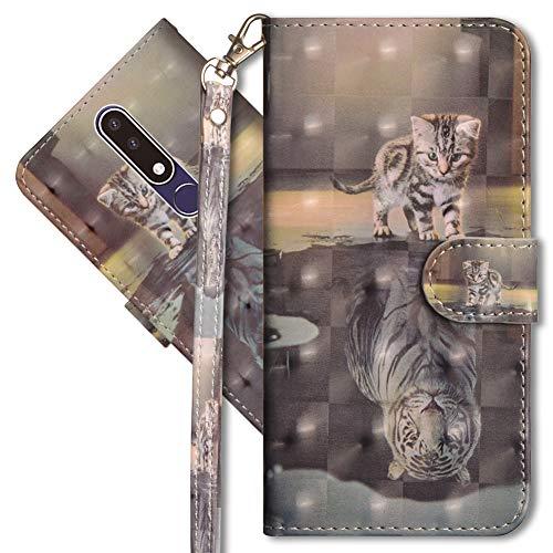 MRSTER Nokia 3.1 Plus Handytasche, Leder Schutzhülle Brieftasche Hülle Flip Hülle 3D Muster Cover mit Kartenfach Magnet Tasche Handyhüllen für Nokia 3.1 Plus 2018. YX 3D - Cat Tiger