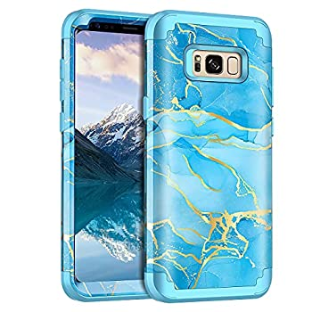 Casetego for Galaxy S8 Case,Heavy Duty Shockproof 3 Layer Hard PC+Soft Silicone Bumper Rugged Anti-Slip Protective Cases for Samsung Galaxy S8,Blue Marble
