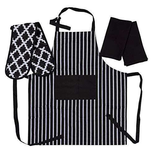 Penguin Home 3517 Schürze, doppelter Ofenhandschuh und 2 Geschirrtücher-Set, 100, weich, langlebig, hitzebeständig und super saugfähig, Baumwolle, schwarz/weiß, 70 X 90, 18 X 90, 45X 65 cm