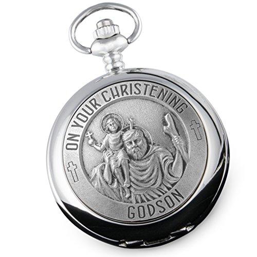 De Walden Taschenuhr mit englischer Aufschrift und Abbildung vom Heiligen Christophorus, zur Taufe des Patensohns, aus Zinn, Geschenkidee von Paten