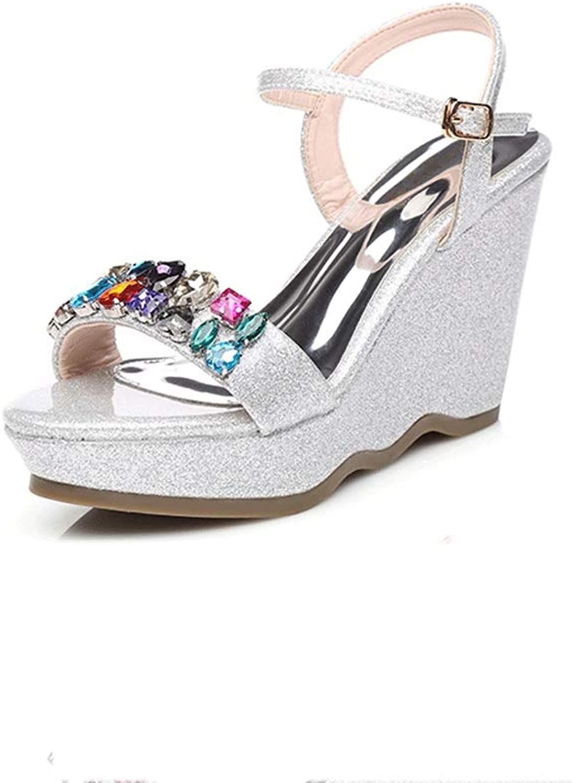 Summer Women's shoes Heel Platform Sandals with Rhinestone High Heel Small Size shoes Women Pumps