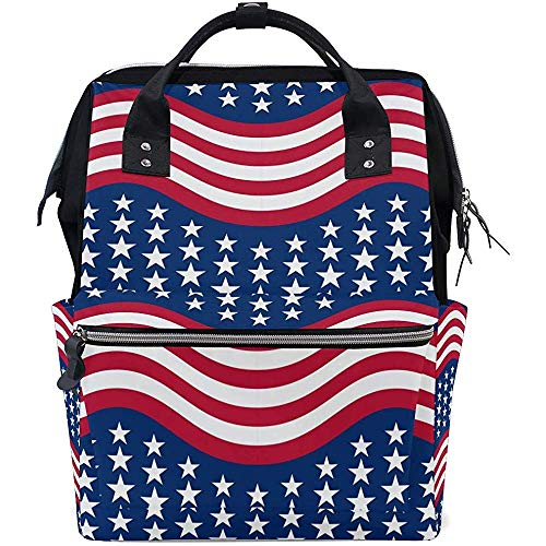 Mummy Backpack American Stars Zipper Diaper Mom Multi-Function Backpack Dad Casual Large Capacity Baby Bags Travel Backpacks Unisex 28X18X40Cm