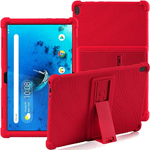 Funda para Lenovo Tab M10 (TB-X505F / TB-X605F / TB-X705F) de 10,1 pulgadas, con soporte, de silicona, suave, antigolpes, de goma, carcasa protectora para tablet Lenovo Tab M10 (rojo)