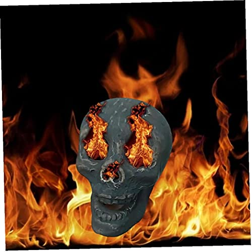 Halloween Imitated Human Skull Gas Log, Ceramic Fireproof Fire Pit Skull...