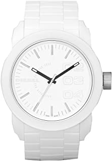 Diesel Men's Double Down Quartz Stainless Steel and Silicone Casual Watch, Color: White (Model: DZ1436)