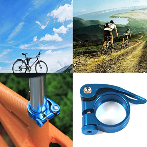 Hunpta 31,8 mm MTB Bike Fahrrad Rad Sattel Sattelrohrschelle Schnellspanner Stil (Blau) - 2