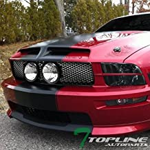 Topline Autopart Factory Crystal Style Black Smoke Headlights DY + Matte Mesh Front Bumper Hood Grill Grille Conversion w/o Fog Hole For 05-09 Ford Mustang GT