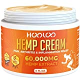 Hemp Cream, HOOLOO 60,000MG Natural Hemp Extract Cream, Fast Relief, Muscle, Joint, Lower Back, Knees, Fingers, Nerves, Made in USA, 5oz
