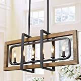 LOG BARN Farmhouse Chandelier, Pendant Lighting for Kitchen Island in Distressed Wood and Black Metal Finish, Ceiling Hanging Fixture for Dining Room