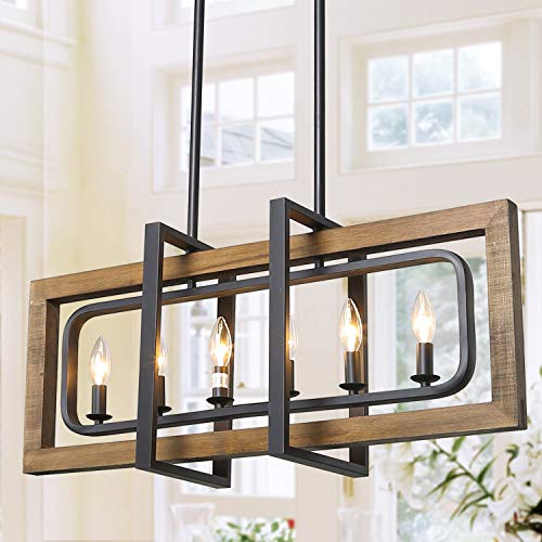 LOG BARN Farmhouse Island Lighting, Rustic Chandeliers for Kitchen Distressed Wood and Black Metal Finish, Ceiling Hanging Pendant for Dining Room