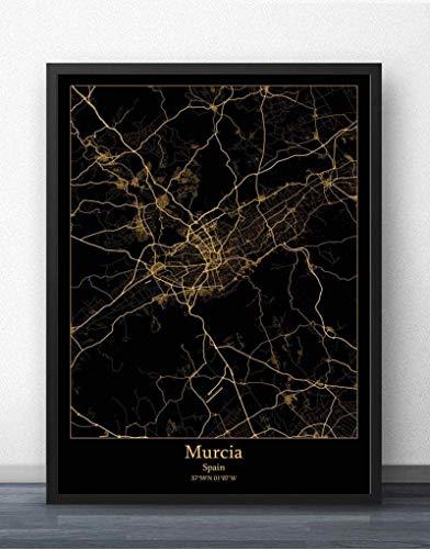 Cuadro Sobre Lienzo,Murcia España Ciudad Mapa Pared Imprime Murales Carteles De Oro Negro Pinturas Arte Rectángulo Imágenes Pop Arte Para La Habitación De La Vida Casa Decoración,70X100Cm/ 27.55
