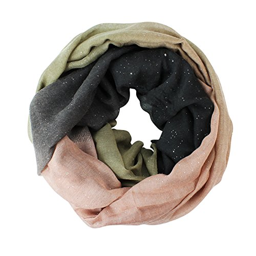 Glamexx24 Neue Kollektion Damen schal leichter Langschal Loop Schlauchschal Tuch Viele Farben, 01170 Schwarzapriko, Einheitsgröße