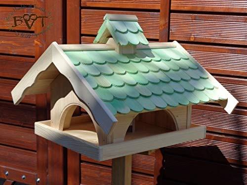 Vogelhaus,groß,mit Nistkasten,BEL-X-VONI5-moos002 Großes wetterfestes PREMIUM Vogelhaus VOGELFUTTERHAUS + Nistkasten 100% KOMBI MIT NISTHILFE für Vögel WETTERFEST, QUALITÄTS-SCHREINERARBEIT-aus 100% Vollholz, Holz Futterhaus für Vögel, MIT FUTTERSCHACHT Futtervorrat, Vogelfutter-Station Farbe grün moosgrün lindgrün natur/grün, MIT TIEFEM WETTERSCHUTZ-DACH für trockenes Futter - 3