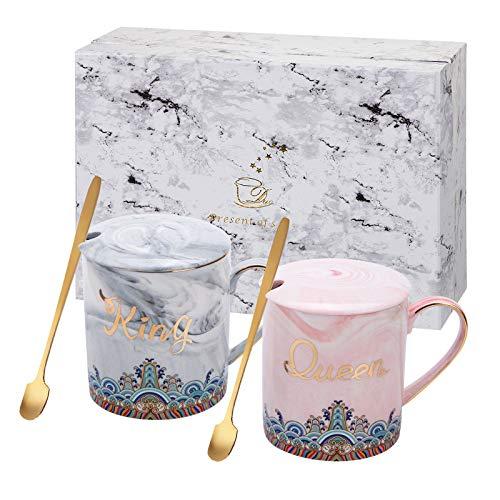 ANSUG Mr e Mrs Coffee Mug, Personalizza Tazze in Ceramica Tazza per Il Latte in Marmo con Un Cucchiaio per Matrimonio, Anniversario, Regalo di Valentine's Day - 14 Oz (King&Queen)