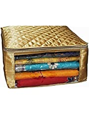 Kuber Industries™ Saree Cover Large Size Upto 15 Sarees in Golden Satin Gift