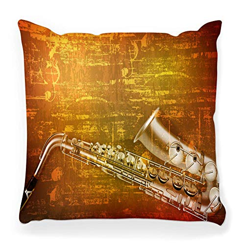 Fantastic Fairy Soft Square Pillow Cover 20x20 Abstract Grunge Sound Saxophone Acoustic Backdrop Classic Classical Color Concepts Crack Dirty