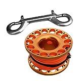 Sharplace Tauchen Fingerreel Finger Spool Reel mit Doppelkarabiner, Leine Länge 15 Meter - Orange