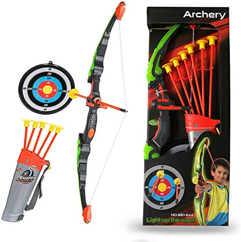 RCTOYS Green Light Up Archery Toy Set - Bow and Arrow Set for Kids -Includes 6 Suction Cup Arrows, Target & Quiver - for Boys & Girls Ages 3-12 Years Old Best Gift for Children