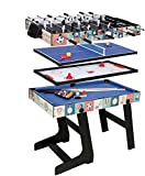 Umi. Essentials Table Multi Jeux 4 en 1 Pliable Billard/Babyfoot/Hockey/Tennis de Table(01)