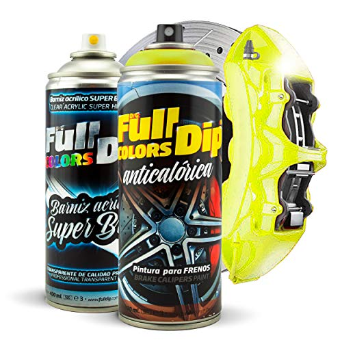 Kit Pintura para Pinzas de Freno Super Brillo en Spray 400ml (x1 Spray Pintura + x1 Spray Barniz Brillo) - Fácil aplicación - Acabado Profesional (11 Colores a Elegir) (Amarillo)