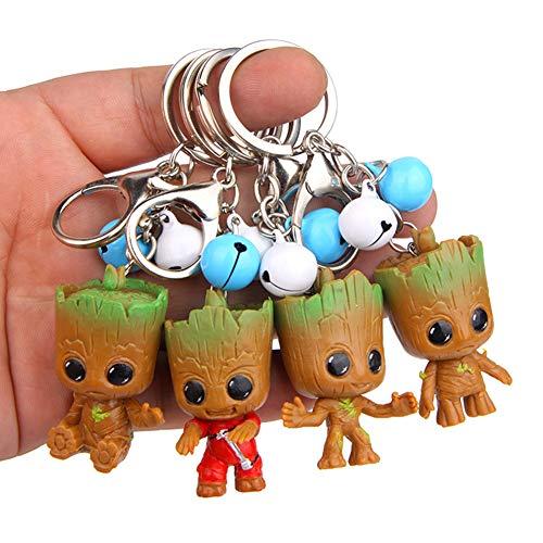MAJGLGE Lot de 4 porte-clés avec pendentif en forme d'arbre et greot des Gardiens de la Galaxie