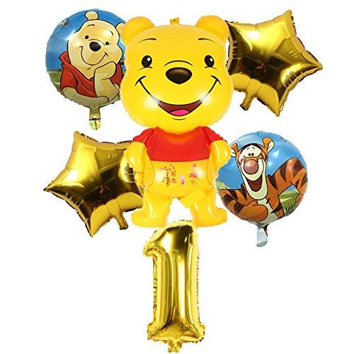 LIZHIOO Ballon gesetzt 6 Teile/Satz Winnie The Pooh Ballons Tiger Folienballons Alles Gute zum Geburtstag Dekorationen die Ferkel luftkugeln Dekoration Kinderspielzeug (Color : 1)