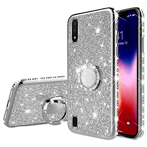 Kompatibel mit Samsung Galaxy A01 Hülle Silikon Glitzer Glänzend Bling Diamant Handyhülle mit Ring Ständer Kristall Strass Weiches TPU Stoßfest Schutzhülle Tasche Case für Galaxy A01,Silber