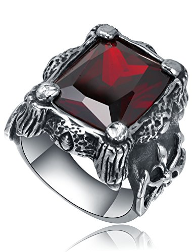 Da uomo in acciaio INOX, motivo artiglio con cristalli rossi e Fleur De Lis-Anello da Biker gotico, Acciaio inossidabile, 24, cod. 51105023511