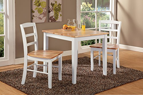 3pc Dining Table with 2 Ladderback Chairs White/Natural – International Concepts