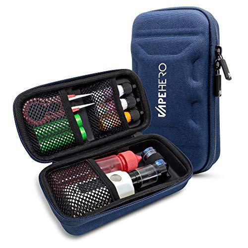 VapeHero® L E-Zigarette Tasche | Dampfer Etui für max. 80ml Liquid und Zubehör | Passend für große Mods | Stoßfest (Large, Blau)