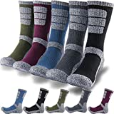 DEARMY 5Pack of Men's Multi Performance Cushion Outdoor Sports Hiking Trekking Crew Socks Moisture Wicking (1...