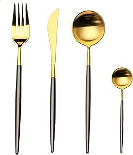 4-Piece Stainless Steel Flatware Set 1 Including Fork Spoons Knife Tableware (Black+Golden)
