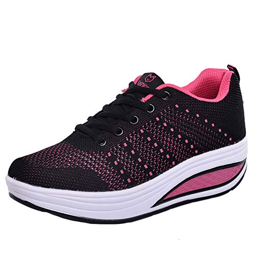 ARbuliry Chaussures de Course pour Femmes, Baskets à Lacets, Chaussures de Sport en Maille Respirante intérieure Douce, Chaussures de Sport antidérapantes Antichoc pour la Course et Le Fitness