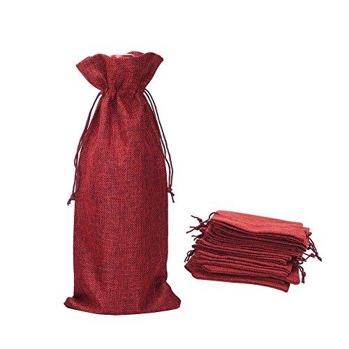 Shintop 10 Stück Jute-Weinbeutel, 35.5cm x 16cm, Geschenkbeutel aus Sackleinen für Flaschen mit Zugverschluss (Rot)