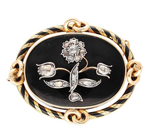 Trauer-Brosche, 15 Karat Gelbgold, schwarze Emaille, Altschliff, 1,00 Karat Diamant, 45 x 55 mm