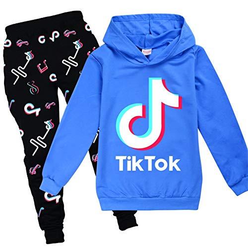 Conjunto de sudadera con capucha y pantalón, con diseño de TikTok, estilo de moda, unisex, color azul, talla 9-10 años