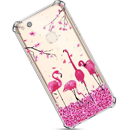 Felfy Transparente Funda Compatible con Huawei P10 Lite Carcasa,Compatible con Funda Huawei P10 Lite Silicona,Brillante Mariposa Flor Patrón Crystal Clear Antiarañazos TPU Slim Case.Flamenco