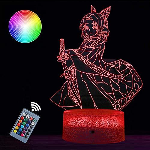 Luz nocturna 3D para niños Demon Slayer Lámparas de lava para niños Touch LED lámpara de mesa de escritorio 16 cambio de color interruptor táctil luz nocturna para niños amigos regalo