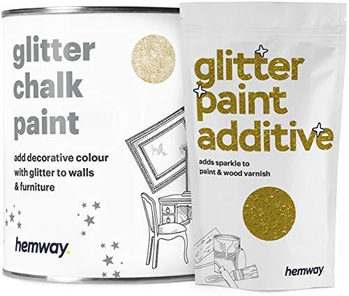 Pintura a la tiza blanca (con brillo) de Hemway, pintura para muebles y paredes con acabado mate y purpurina brillante, para un efecto retro y chic, 1 litro, dorado