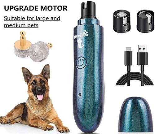 Pecute krallenschleifer für Große Hunde und Katzen 50 Dezibel super-leise Lärm, Zwei-Gang-Schaltung mit Superkraft-Geschwindigkeit, USB-Anschluß,mit 2 Schleifköpfen(Farbverlauf Grün)
