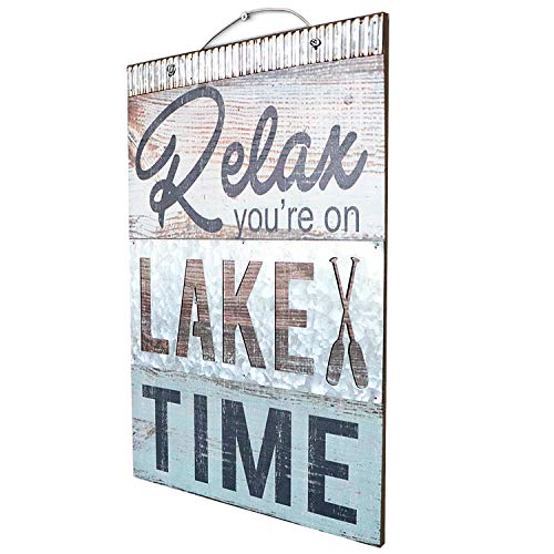 "Barnyard Designs Relax You're On Lake Time Nautical Wooden Plaque with Corrugated Sheet Metal, 20"" x 14"" 