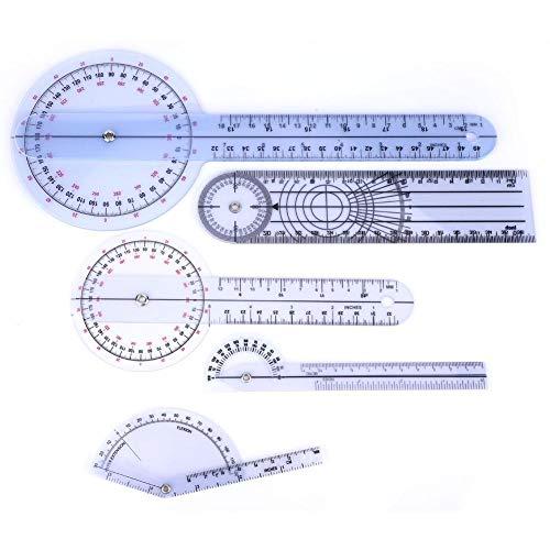 Goniómetro, 5Pcs 6/8/10 pulg. Goniómetro médico de plástico de 360 grados, Protractor...