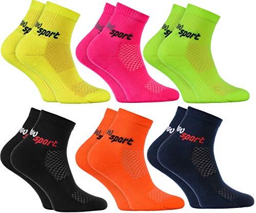 Rainbow Socks - Jungen und Mädchen Neon Sneaker Sportsocken - 6 Paar - Mehrfarbig - Größen 24-29